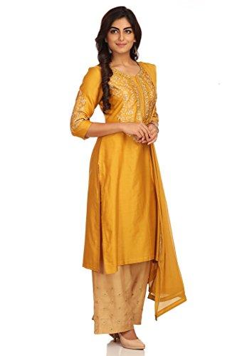 BIBA Women's Straight Cotton Silk Suit Set 42 Mustard by Biba (Image #1)
