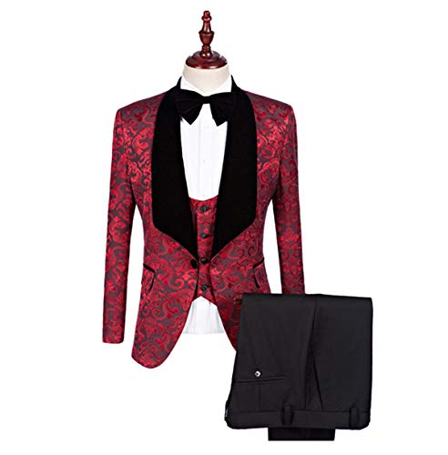 Btaidi Groomsmen Shawl Lapel Man Suit Groom Wedding Men's Blazer Suits Jacket+Pants+Tie+Vest 3 ()