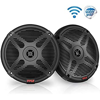 waterproof and weather resistant outdoor audio dual stereo sound system  with 600 watt power and low profile design - 1 pair - pyle plmrbt65b (black)