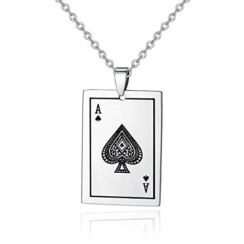 Stainless Steel Playing Card A for Women Jewelry Necklace Pendant 1 3/8 -
