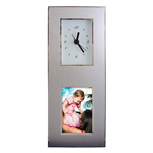 Aluminum Photo Frame Desk Clock, Inovative Design, Holds 2