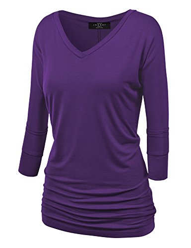Made By Johnny WT1036 Womens V Neck 3/4 Sleeve Dolman Top with Side Shirring S Dark_Purple