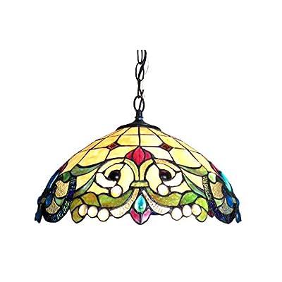 "Chloe Lighting CH818767IV18-DH2 Tiffany Tiffany-Style 2 Light Victorian Ceiling Pendent 18"" Shade, Multi"