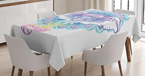 Ambesonne Elephant Mandala Tablecloth, Hand Drawn Rainbow Summer