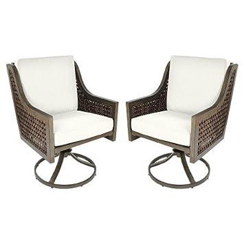 Wicker Swivel Rocker Dining Chair Linen