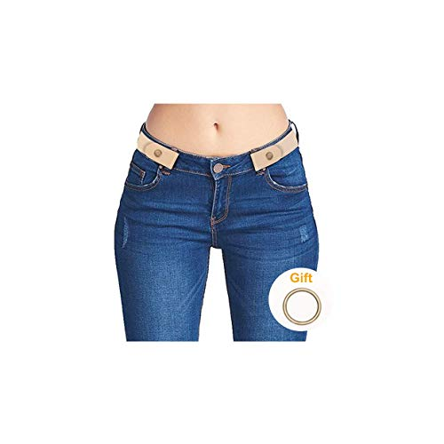 (Invisible Belts for Women Buckle Free No Show Stretch Belts for Jeans Pants Dress Beige )