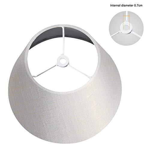 Lamp Shade IMISI Linen Fabric White Lamp Shade Small 5 Top Diameter x 9 Bottom Diameter x 7 Tall (White with Gold Threads)