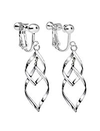Clip On Earrings Twist Waver Drop Earrings Dangle Silver Tone Plated Proms Gift