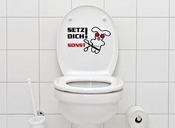 Grandora WC Aufkleber Spruch Setz Dich + Hase I braun (BxH) 29 x 19 ...