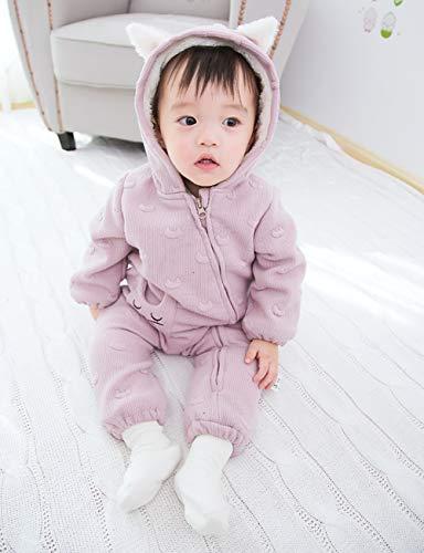 d69ecfada8ae1 Fairy Baby 裏起毛 ベビーロンパース ジャンプスーツ ねこ模様 子供服 カバーオール 冬用 雪