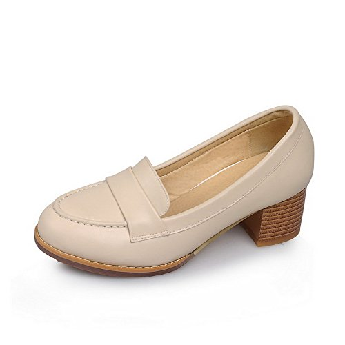 AllhqFashion Womens PU Solid Pull on Round Closed Toe Kitten Heels Pumps-Shoes Apricot G4SG3BpZp