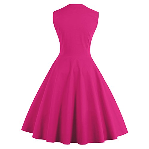 Damen Retro 46 Rose Kleid 3XL 50er EU Vintage DISSA Rockabilly M1357 Cocktail HqZ5w5