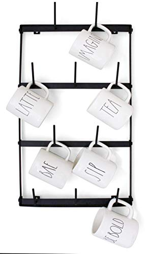 Claimed Corner Mini Wall Mounted Mug Rack - 4 Row Metal Storage Display Organizer For Coffee Mugs, Tea Cups, Mason Jars, and More. by Claimed Corner