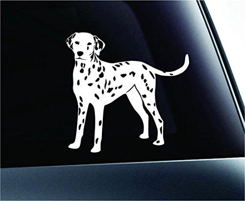 (Dalmatian Dog Symbol Decal Paw Print Dog Puppy Pet Family Breed Love Car Truck Sticker Window (White))
