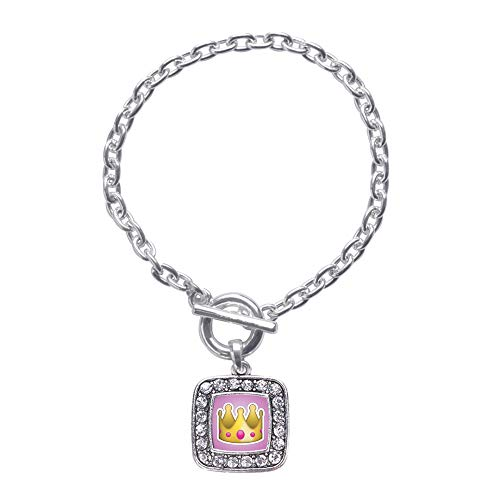 Inspired Silver - Crown Emoji Toggle Charm Bracelet for Women - Silver Square Charm Toggle Bracelet with Cubic Zirconia Jewelry