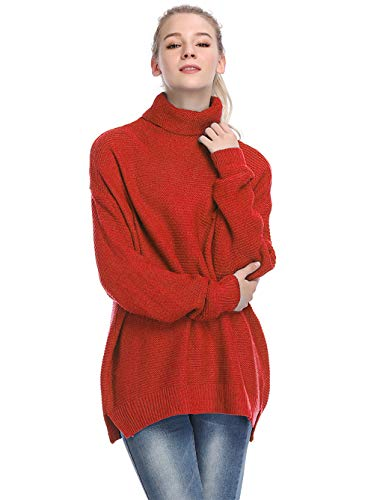 - Womens Casual Sweaters Turtleneck Long Sleeve Chunky Knit Pullover Sweater-Red-S