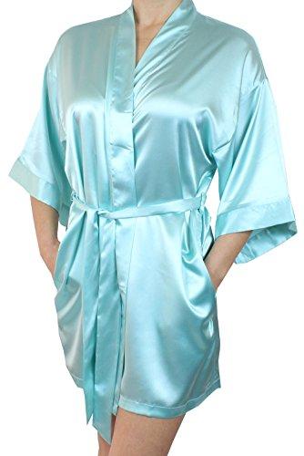 Women's Satin Kimono Bridesmaid Short Silky Robe With Pockets – Baby Blue M/L