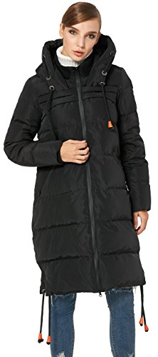 Orolay Women's Color Thickened Black Contrast Coat Hooded Drawstring Down Jacket rwtrPqyd