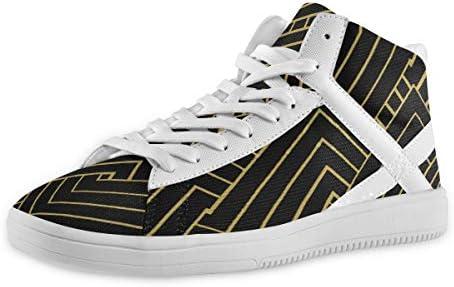 スケートボードシューズ 抽象 チェーンパターン Xマーク メンズ ハイカットスケートボード ミッドカット レースアップ ミドルヒール スニーカー 厚底 クッション性 ドレスシューズ ハイトップ ショートブーツ デッキシューズ 運動靴