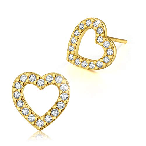 Esberry✦Gifts for Mother's Day with Gift Wrap✦18K Gold Plating 925 Sterling Silver CZ Hollow Love Heart/Swirl Stud Earrings Cubic Zirconia Earrings Jewelry for Women and Girls (Yellow Gold-Love Heart)