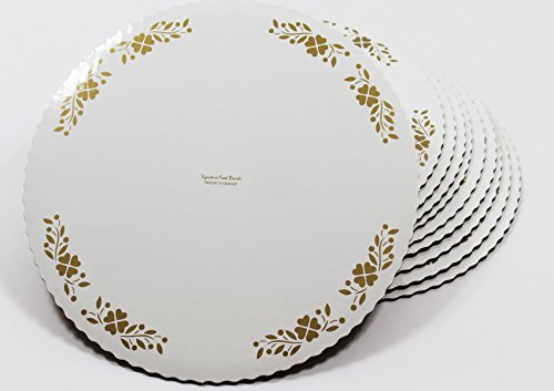 12-inch Cake Boards with Decorative Gold Borders. Thick, Grease-Proof, Freezer-Durable Rounds with Patented Laminate Top. Pack of 10 Scalloped-Edge Circles Made in USA, White and Gold Scalloped Border Sets