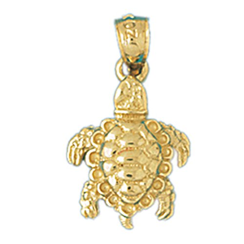 14k Yellow Gold 3-D Turtle Pendant (12 x 19 mm) by K&C