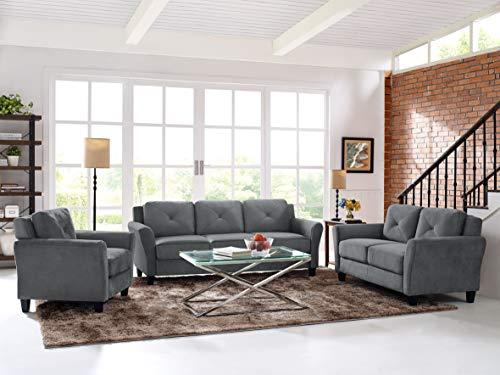 "Lifestyle Solutions Collection Grayson Micro-fabric SOFA 80.3"" x 32"" x 32.68"" Dark Gray"