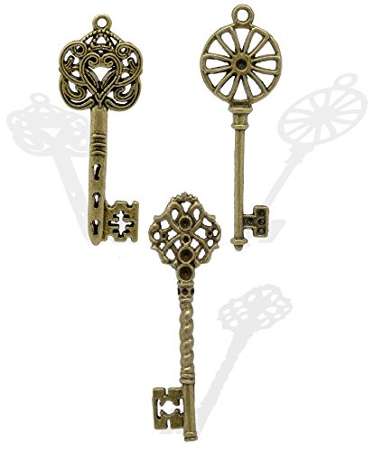 Mini Steampunk Pirate Hat With Gear (30 Pack Mixed Skeleton Keys by JGFinds, Bronze Tone (Set 1))