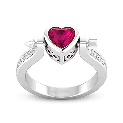 Windoson European and American Fashion The New Cupid's Arrow Love Heart Shape Setting Drill Ring Lady Love Ring (8, Silver)