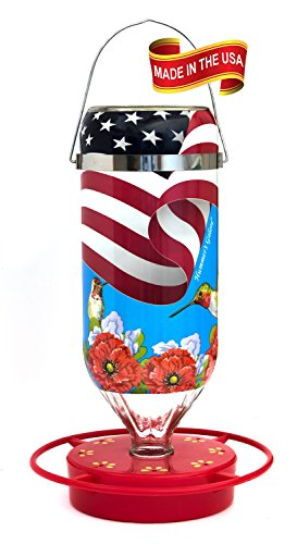 Hummer's Galore All American Flag 32 oz Hanging Glass Hummingbird Feeder Review