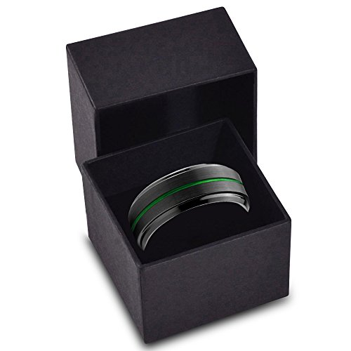 Tungsten Wedding Band Ring 8mm for Men Women Green Black Beveled Edge Brushed Polished Lifetime Guarantee