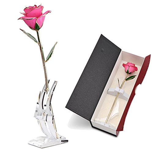 Abedoe Long Stem 24k Gold Rose Flower with Display Stand in Exquisite Gift Box, Best Romantic Gift for Anniversary, Thanks Giving Day, Valentine's Day, Mother's Day, Birthday Gift (Pink) (Romantic Stem Long)