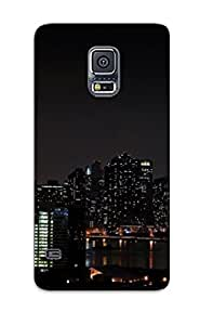 For Galaxy Case, High Quality Buildings Skyscrapers Night Light For Galaxy S5 Cover Cases
