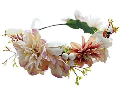 (Vivivalue Flower Garland Crown Adjustable Flower Headband Hair Wreath Floral Headpiece Halo Boho with Ribbon Wedding Party Festival Photos Ivory)