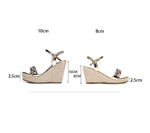 Hand Shoes Sexy 37 Summer Shoes Silver Heeled Ankle 10cm High Color Size Wedge Sandals Woven wqATqBFE