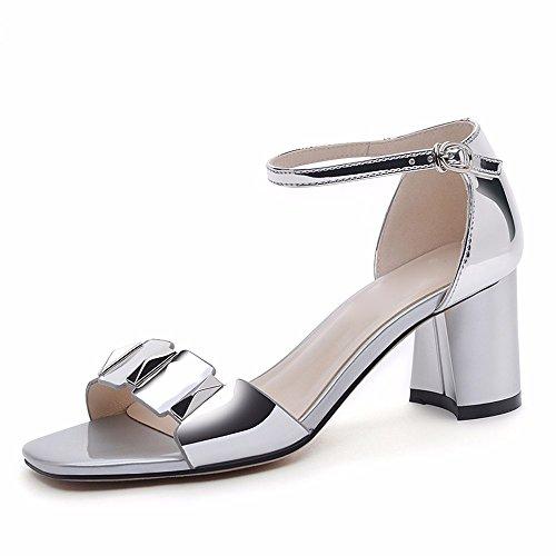 Correspond Hauts Sandales Sandales De L'Argent 5Cm De Avec Thirty Chaussures KHSKX Épaisses Les Façon 4 Talons Une seven Boucle nRqx6Y
