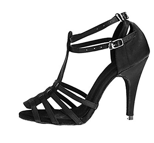 M Women's US Wedding Stiletto 9 Strap Evening Latin Black T Shoes Shoes Heel Miyoopark Sexy Dance Satin ZwUFdUq