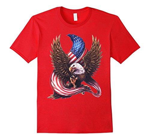July Eagle Flag T-shirt (Mens USA Flag Bald Eagle T-shirt American Flag 4th Of July shirt 2XL Red)