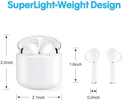 Wireless Earphones, CandyWish True Wireless Headphones Bluetooth 5.0 with Stereo Earphones with Mic Portable Charging Case, White