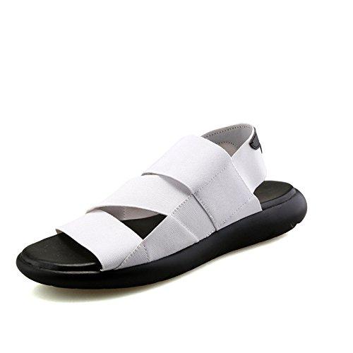 Sommer-Art- und Weisemänner Rom-Sandelholze Art und Weise Freizeit-elastische Strand-Schuhsandelholze, Weiß, Großbritannien = 8.5, EU = 42 2/3