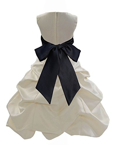 Bubble Black Satin (ekidsbridal Ivory Satin Pick-Up Bubble Bridesmaid Flower Girl Dress 806S 8)