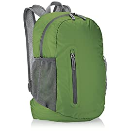 Amazon Basics Ultralight Portable Packable Day Pack 8 Ultra-light packable daypack with 2-way zipper for secure closure Roomy main compartment, 1 front zipper pocket, internal zippered pocket, and 2 mesh side pockets Adjustable breathable straps ensure a proper fit and comfortable all-day use