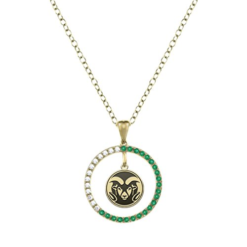 Colorado State University Rams Emerald and Diamond Charm Necklace - 14KT Gold by College Jewelry
