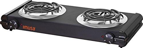 IMUSA USA GAU-80306 1500W Electric Double Burner, Black