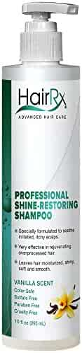 HairRx Professional Shine-Restoring Shampoo with Pump, Light Lather, Vanilla Scent, 10 Ounce