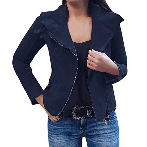 Lazzboy Womens Jacket Coat Vintage Suede Leather Biker Style Zipper Bomber Outerwear Oversized Plus Size, UK 8-18 Navy
