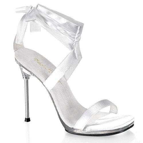 Fabulicious - Sandalias de vestir de satén para mujer Weiss