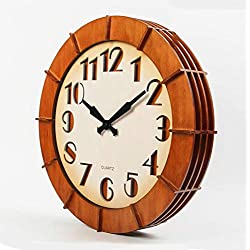 LQY Oversized Solid Wood Wall Clock 18 inch Wine Barrel Style Fashion Decorative Wall Clock Retro Imitation Wood Wall Clock,4545CM