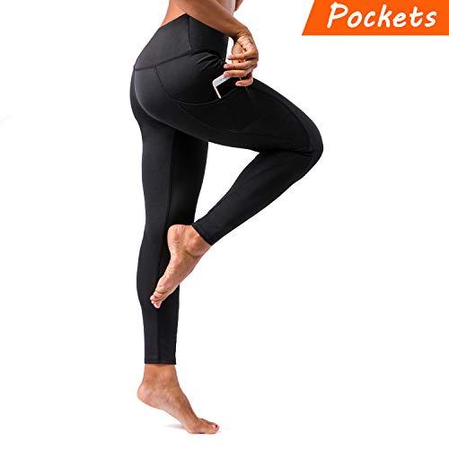 KT Sports Yoga Leggings, Gym Workout Pants Fitness Mesh Leggings for Women (Black, Medium)