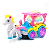 WonderPlay Bump and Go Pretty Princess Horse and Carriage Toy Set - Cute Pink Carriage Playset Kids...